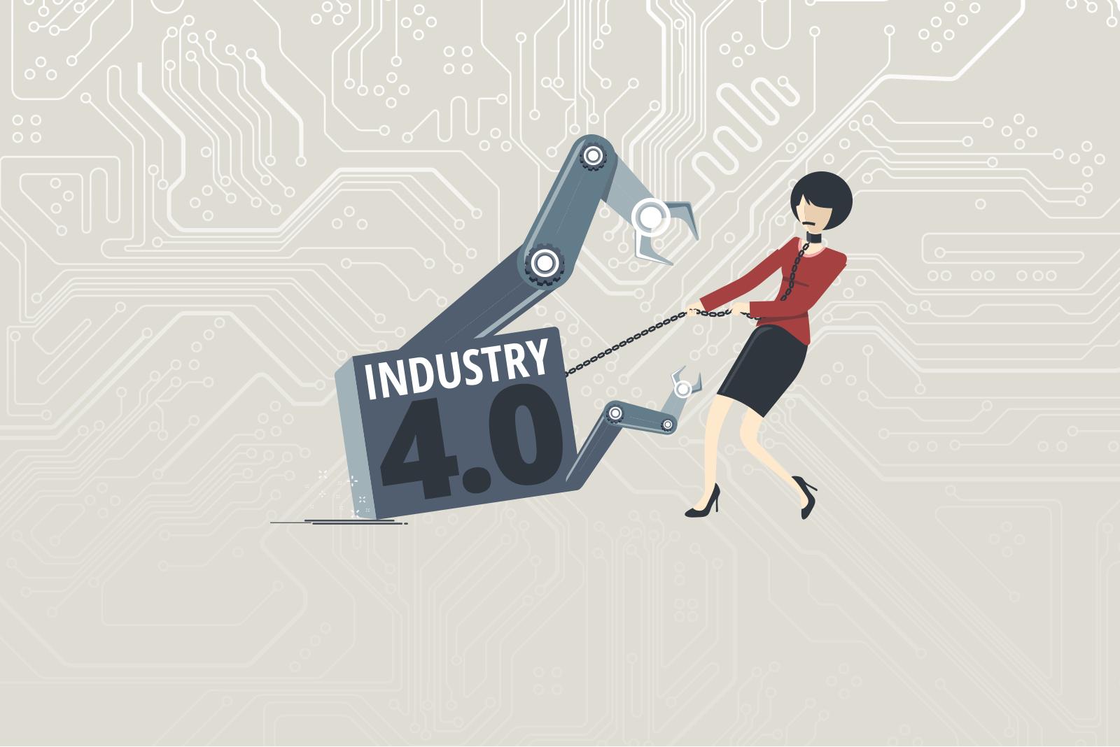 Industry 4.0: Illustration zeigt Angst vor der Digitalisierung am Arbeitsplatz