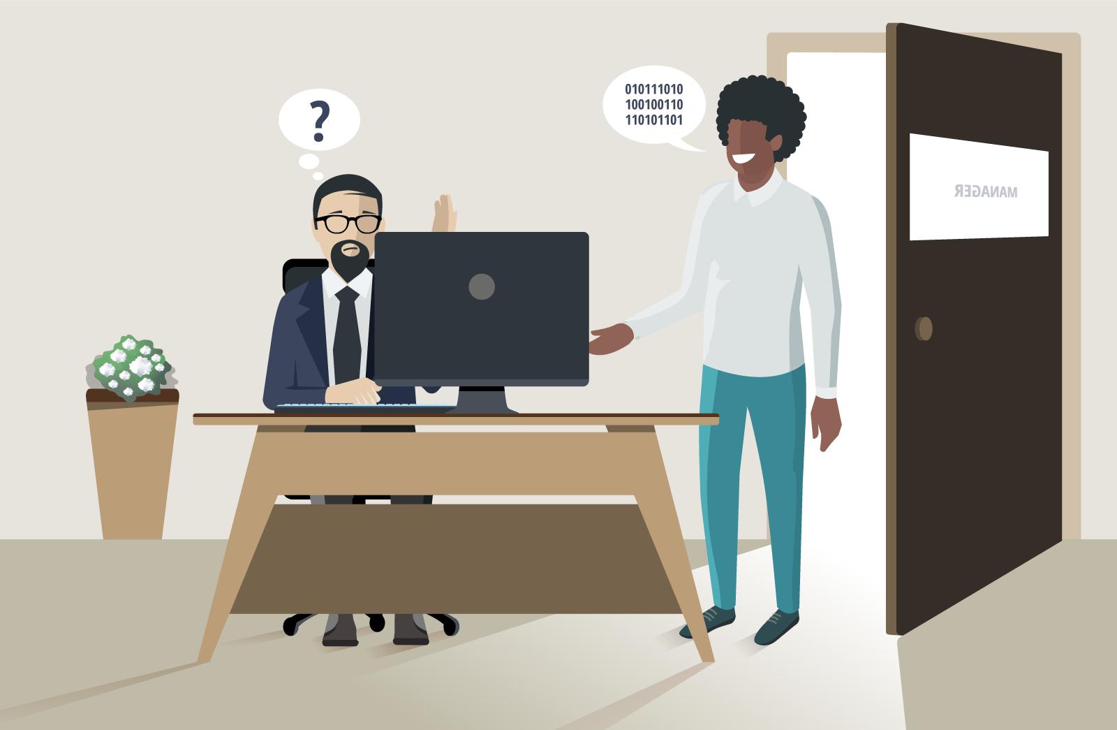 Ein junger Kollege hilft seinem Chef mit neuen Technologien