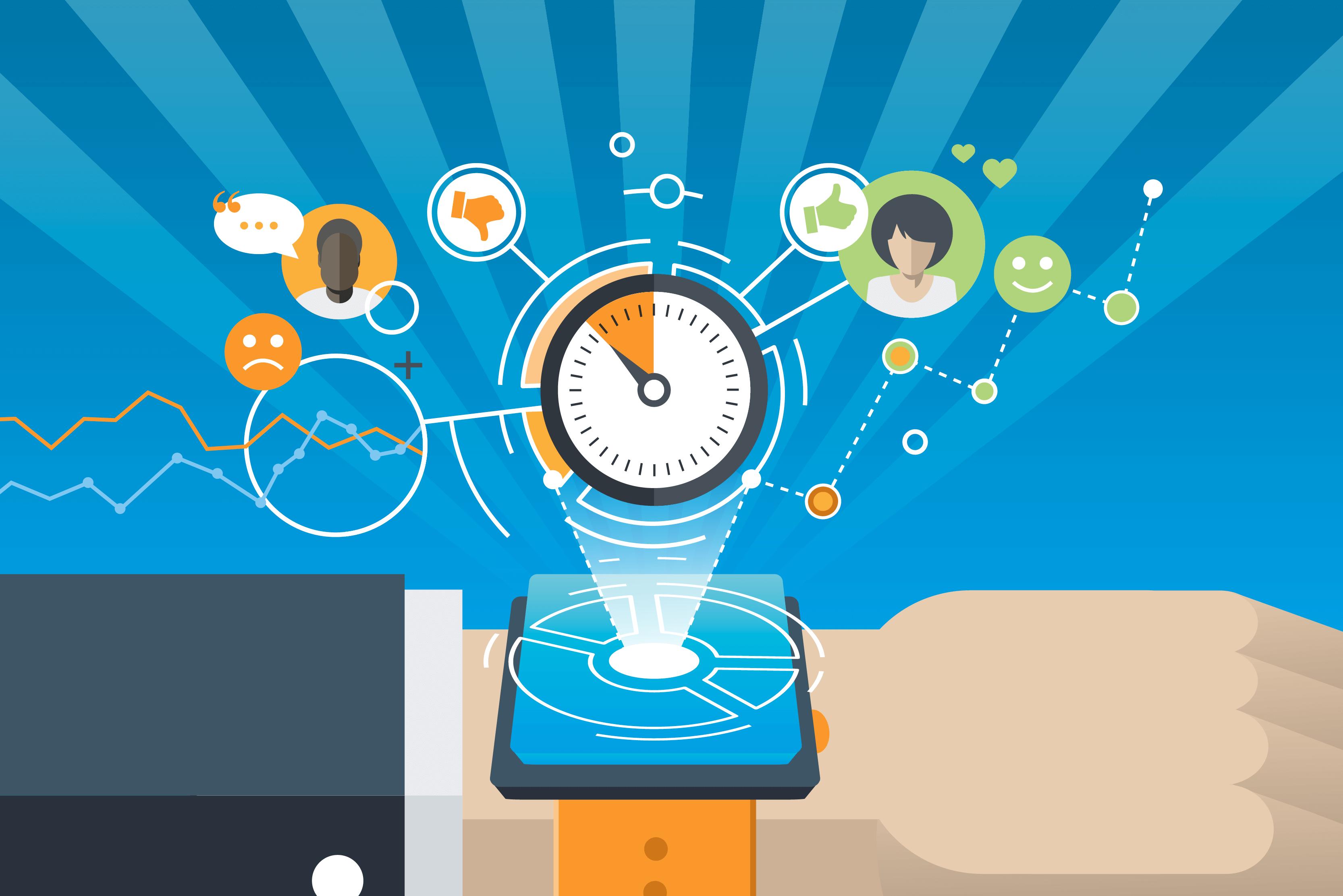 Ein Smartwatch, die die Stimmung und das Stresslevel der Kollegen analysiert.