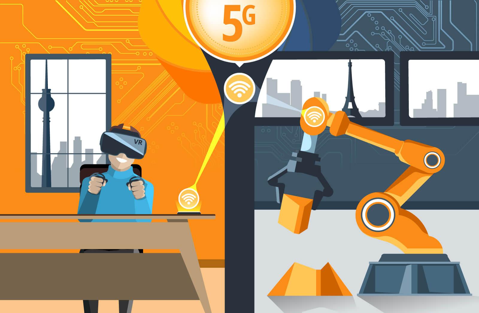 Ein Mensch steuert eine Maschine über die Entfernung mithilfe des neuen 5G Netzes