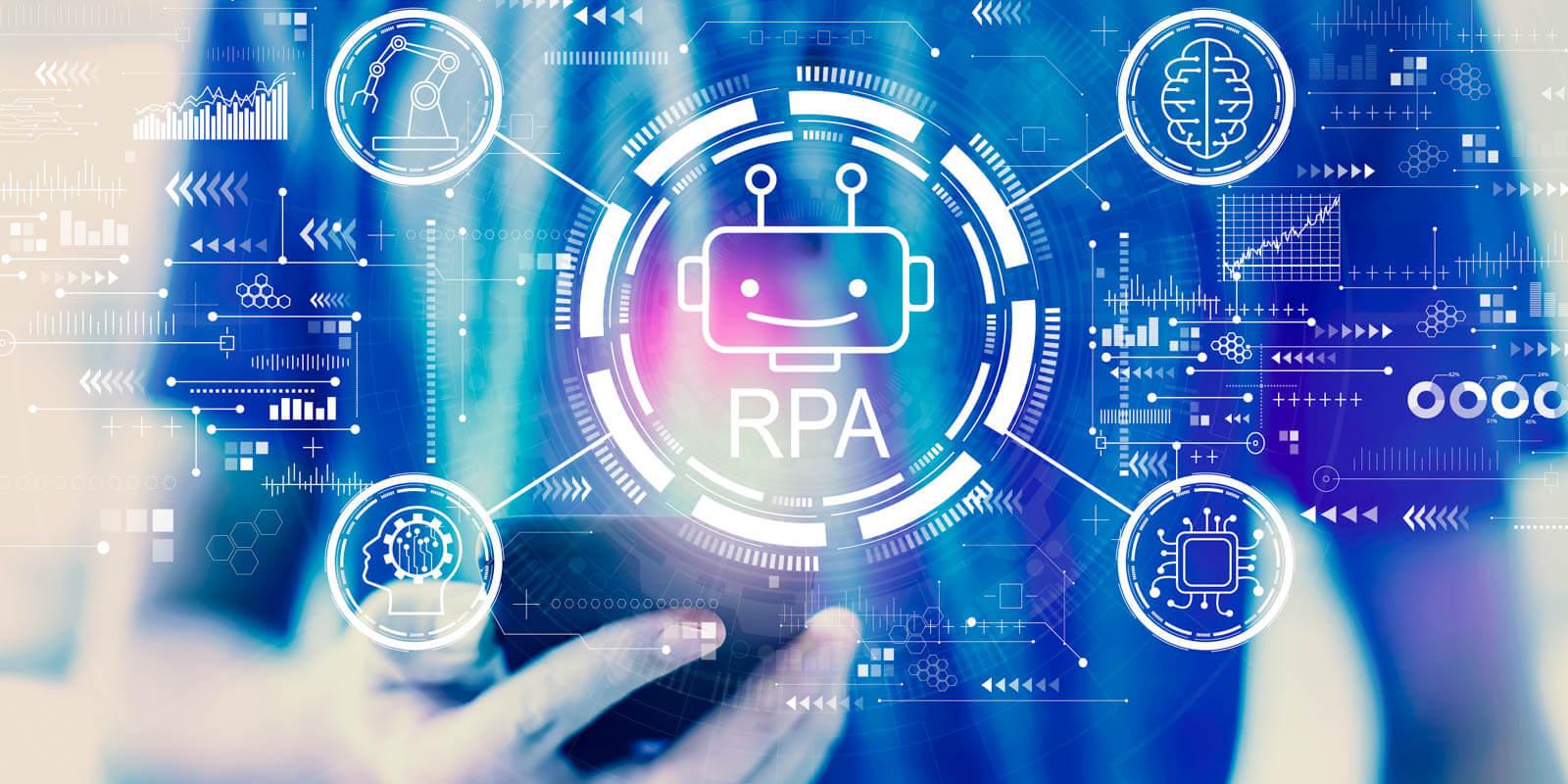 Bild das schemenhaft RPA also Robotic Process Automation zeigt