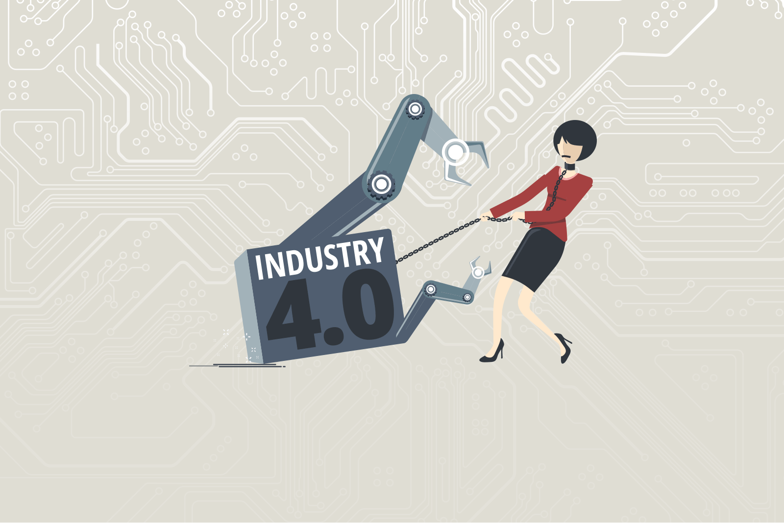 Industry 4.0: Illustrations shows fear of keeping control of their jobs in times of digitisation