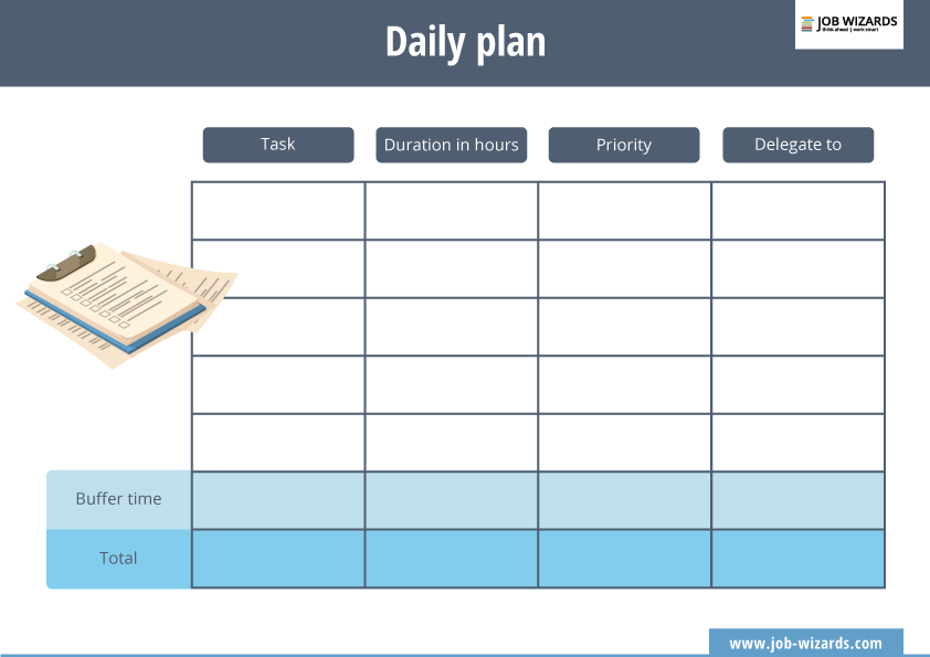 Download your daily plan template
