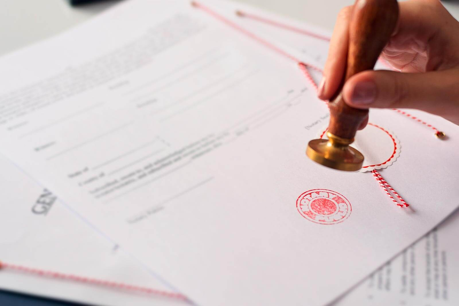 Stamping of a official document